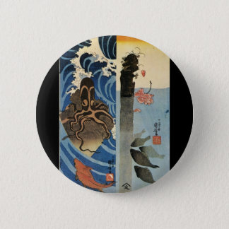 Japanese Painting c. 1800's 6 Cm Round Badge