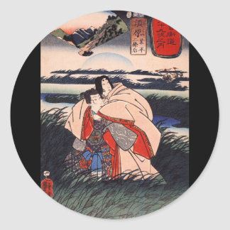 Japanese Painting c. 1800's Classic Round Sticker