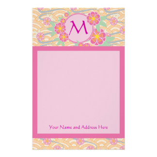 Japanese Plum Blossoms Ume Pink Orange Seigaiha Stationery Paper