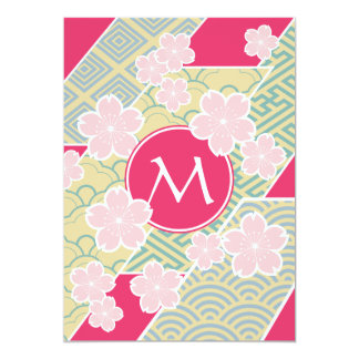 Japanese Sakura Cherry Blossoms Geometric Patterns 5x7 Paper Invitation Card