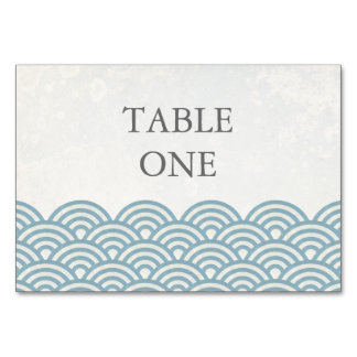 Japanese Seigha Stylized Waves Table Number Table Card