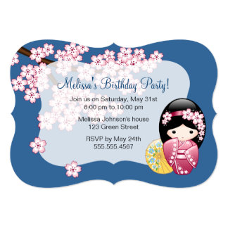 Japanese Spring Kokeshi Doll Birthday Party 5x7 Paper Invitation Card