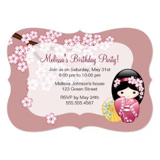 "Japanese Spring Kokeshi Doll Birthday Party 5"" X 7"" Invitation Card"