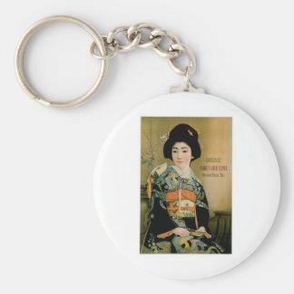 Japanese Tea Vintage Drink Ad Art Keychain