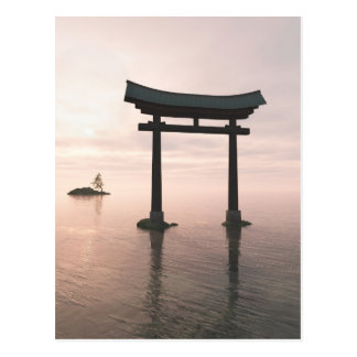 Japanese Torii Gate at a Shinto Shrine, Evening Postcard