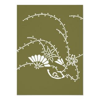 "Japanese traditional pattern - sakura sensu 5.5"" x 7.5"" invitation card"