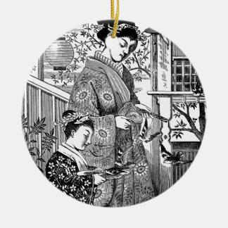 Japanese Woman and Girl Feeding Birds Christmas Ornament