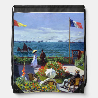 Jardin à Sainte-Adresse by Claude Monet Drawstring Bag
