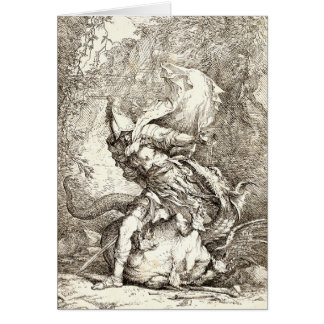 Jason and the Dragon (17th century Etching) Card