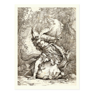 Jason and the Dragon (17th century Etching) Postcard