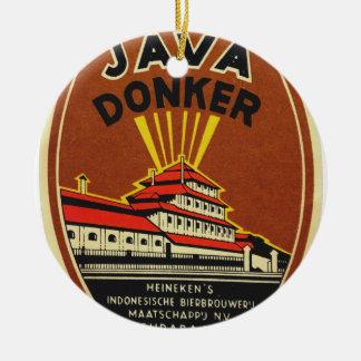 Java Donker vintage beer label Christmas Ornament