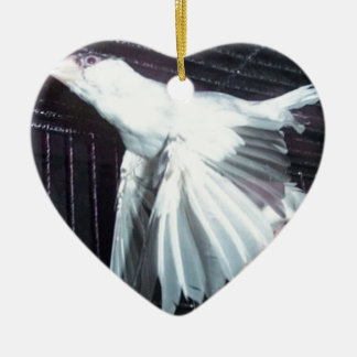 Java Finch in Flight Christmas Ornament