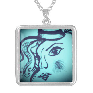 Jazz Age Glow Square Pendant Necklace