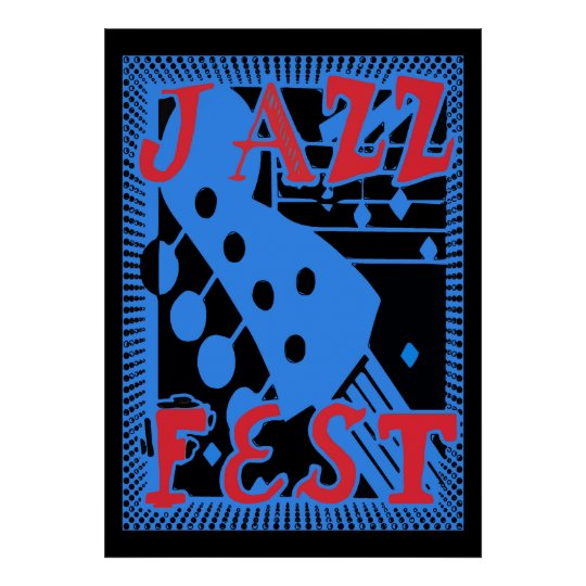 Jazz Fest Guitar in Blue Too Poster