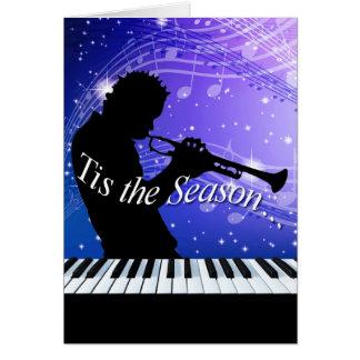 Jazz Horn Player Tis the Season   cobalt blue Greeting Cards