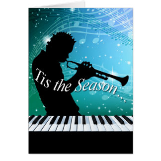 Jazz Horn Player Tis the Season | teal blue Greeting Card