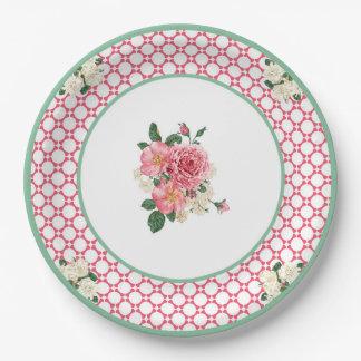 JazzKat's Retro Plates #2D Raspberry White Lattice 9 Inch Paper Plate