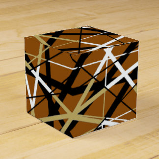 JAZZY LINES brown and gold Party Favour Boxes