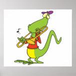 jazzy trombone playing lizard cartoon posters