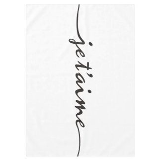je t'aime - I love you in French - black Tablecloth