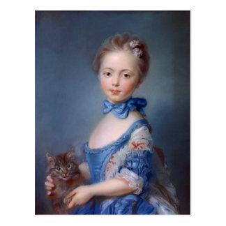 Jean-Baptiste Perronneau: Girl with Kitten Postcard