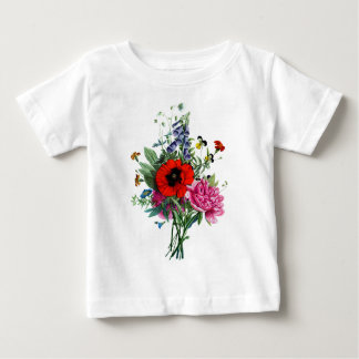 Jean Louis Prevost Poppy and Peony Bouquet Baby T-Shirt