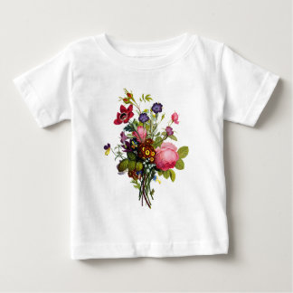 Jean Louis Prevost Roses and Pansy Bouquet Baby T-Shirt