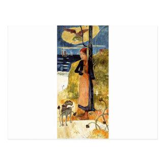 Jeanne d'Arc, or Breton girl spinning Paul Gauguin Postcard