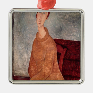 Jeanne Hebuterne in a Yellow Jumper, 1918-19 Silver-Colored Square Decoration