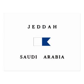 Jeddah Saudi Arabia Alpha Dive Flag Postcard