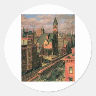 Jefferson Market, Sixth Avenue. New York c. 1917 Classic Round Sticker