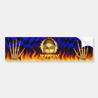 Jeffery skull real fire and flames bumper sticker