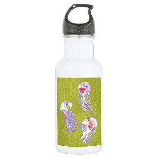 Jelly fishes on lime green background. 532 ml water bottle