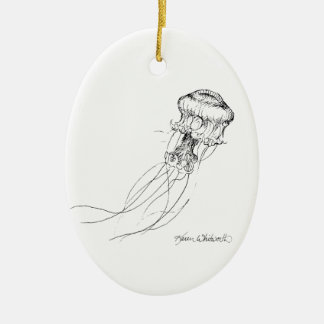 Jellyfish Black & White Drawing Ceramic Oval Decoration