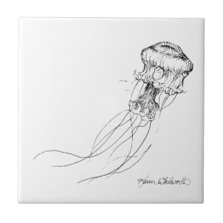 Jellyfish Black & White Drawing Small Square Tile