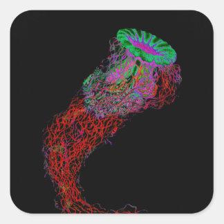 Jellyfish in Neon Colors Square Sticker