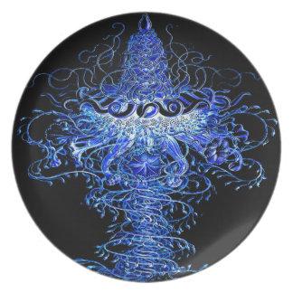 Jellyfish Tornado Pop Art Wall Decor Plastic Blue Plate
