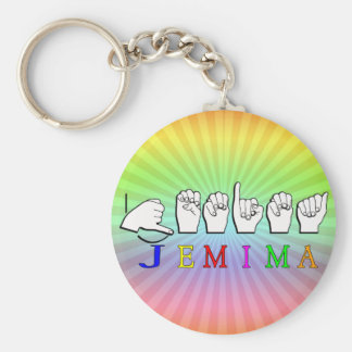 JEMIMA  NAME SIGN ASL FINGERSPELLED BASIC ROUND BUTTON KEY RING