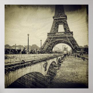 Jena Bridge and Eiffel Tower, Paris, France Poster