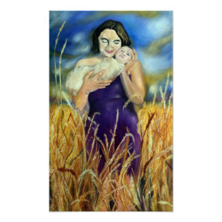 Jennifer and Daughter - painting by Jeanne Watson Poster