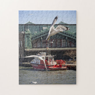 Jersey City Fireboat with Sea Gulls Jigsaw Puzzle