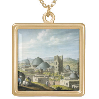 Jerusalem from the West, pub. by William Watts, 18 Gold Plated Necklace