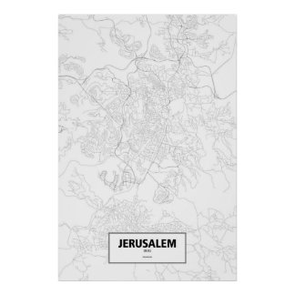 Jerusalem, Israel (black on white) Poster