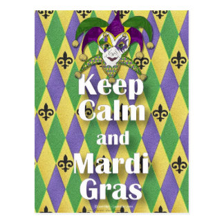 Jester Mask Keep Calm and Mardi Gras Postcard