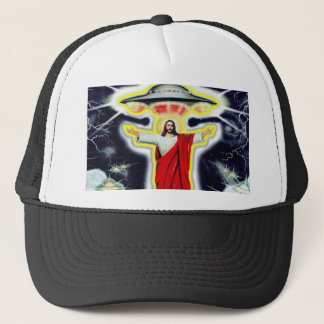 Jesus and a UFO Trucker Hat