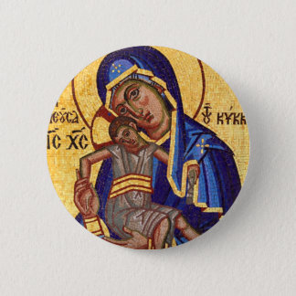 Jesus and Mary Mosaic Picture 6 Cm Round Badge