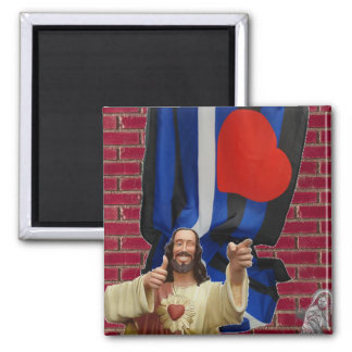 Jesus and the Leather Flag Magnet