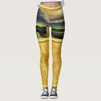 Jesus at Heaven's Gate Gold Texture Design Leggings