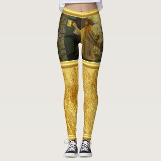 Jesus At Your Door with a gold foil design Leggings