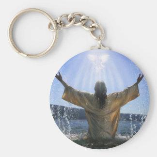Jesus Baptism Basic Round Button Key Ring